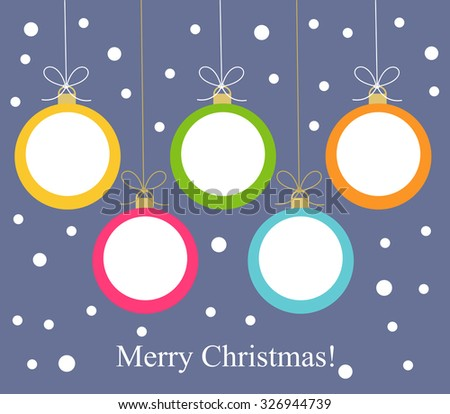 Christmas balls hanging. Vector illustration card - stock vector