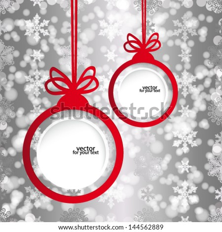 Christmas balls in the form of an empty frame for your text.  - stock vector