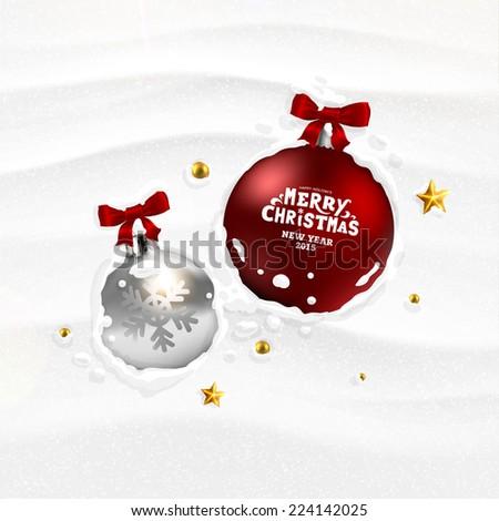 Christmas Balls in the Snow. Xmas Holiday Vector Illustration - stock vector