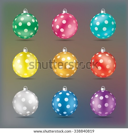 Christmas balls in various colors vector illustration. - stock vector