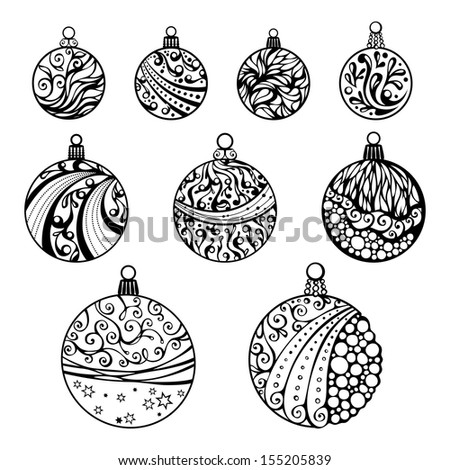 Christmas balls isolated on white background. Nine various Christmas balls. Round shapes. Hand drawn ornament. - stock vector