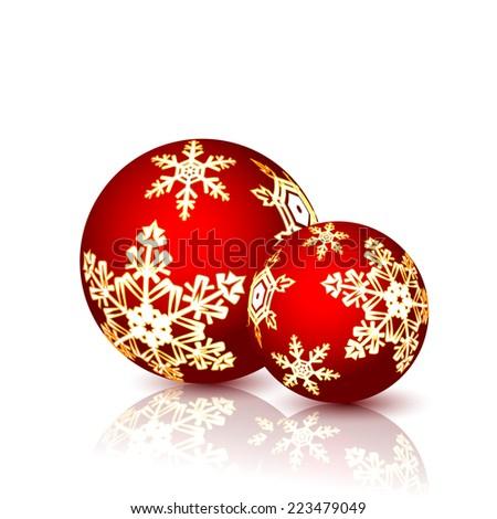 Christmas Balls isolated on white background. Vector illustration. - stock vector