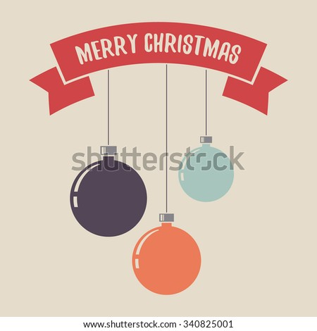 Christmas balls. Merry Christmas greeting card with red ribbon banner.