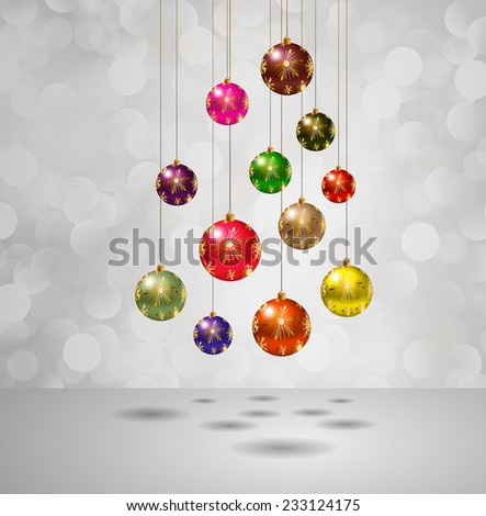 Christmas balls on a winter background with bokeh defocused lights., shiny effect, Happy New Year vector background