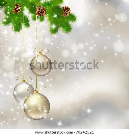 Christmas balls on abstract light grey background. Vector eps10 illustration - stock vector