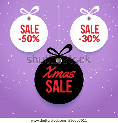 Christmas Balls Sale Special Offer Vector Stock Vector 539801659