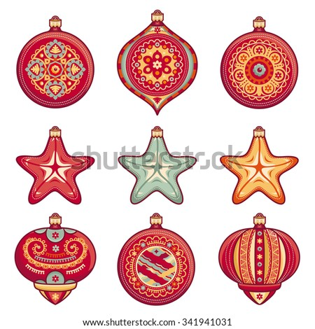 Christmas balls. Set of color Christmas toys. Holiday decorations. Template for design. Winter. White background. Isolated image. New Year decoration. Cut the paper. Eps.  Pattern toy. 2016 - stock vector
