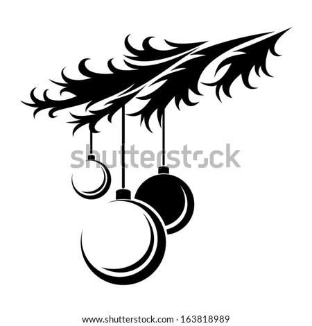 Christmas balls. Vector black silhouette. - stock vector