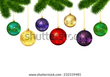 Christmas balls with ornament isolated  on fur-tree on white background. Vector illustration - stock vector