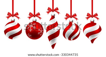 Christmas balls with red ribbon and bow isolated on white. Vector illustration - stock vector
