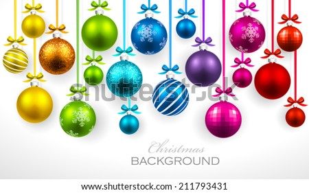 Christmas balls with ribbon and bows - stock vector