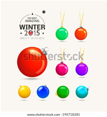 Christmas balls with ribbons. Colorful vector illustration - stock vector