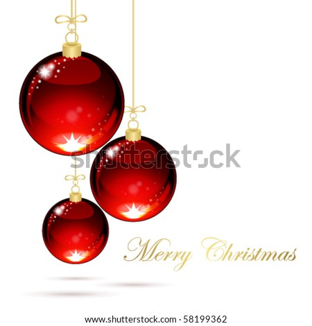 Christmas balls with ribbons on white background - stock vector