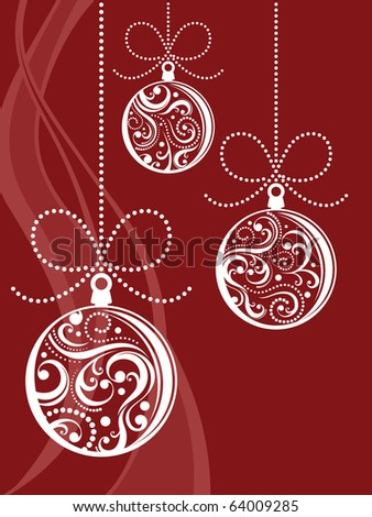 christmas balls with scrolls ornaments on red background in vector format very easy to edit - stock vector