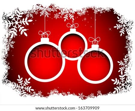 Christmas balls with snowflake frame. Vector eps8 - stock vector