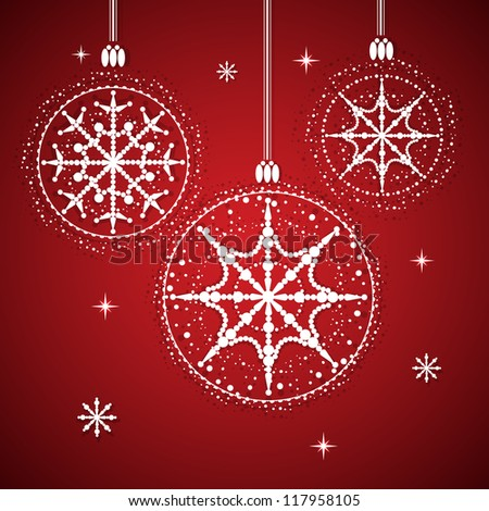 Christmas balls with snowflakes  Christmas background with balls and snowflakes. vector illustration. - stock vector
