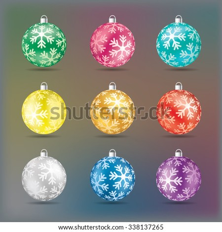 Christmas balls with snowflakes in various colors vector illustration. - stock vector