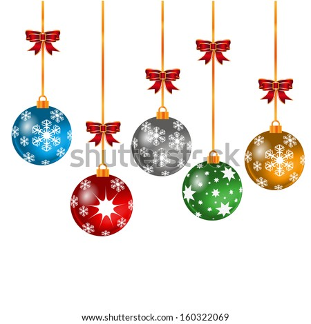 Christmas  balls with snowflakes, isolated on white background vector - stock vector