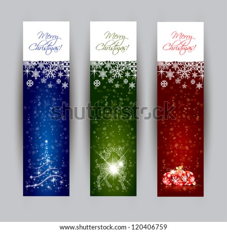 Christmas banner concepts in editable vector format - stock vector