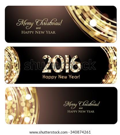 Christmas banner, Golden lights background - stock vector