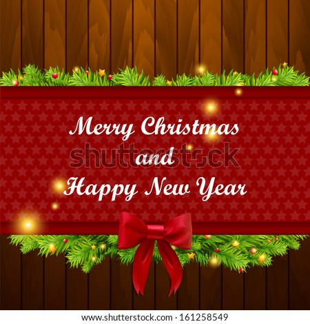 Christmas banner on wood texture. Vector illustration - stock vector