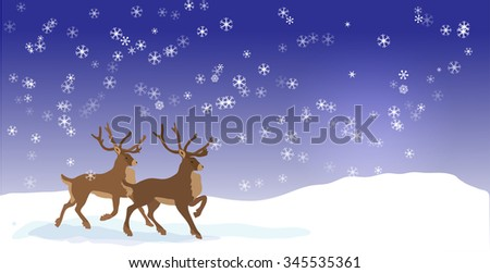 Christmas banner with Vector reindeers - stock vector