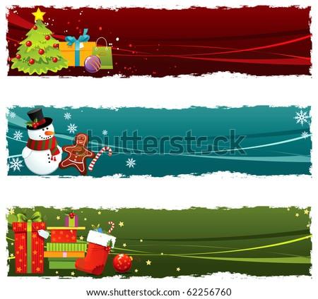 Christmas banners - stock vector
