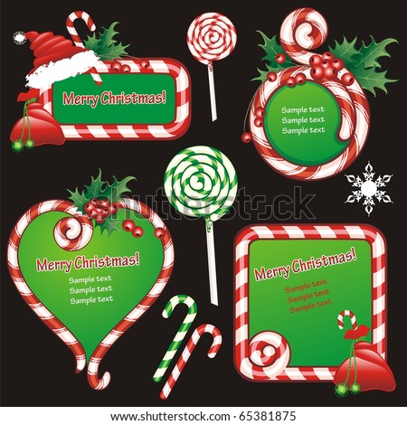 Christmas banners and design elements. Frames and sugar candies. (vector illustration) - stock vector