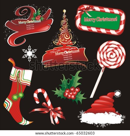 Christmas banners and design elements. (vector illustration) - stock vector