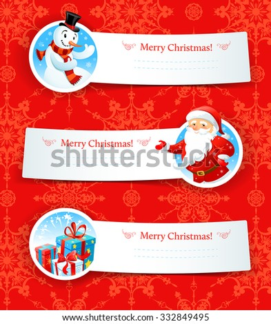 Christmas banners. Design for card, banner, invitation, leaflet and so on. - stock vector