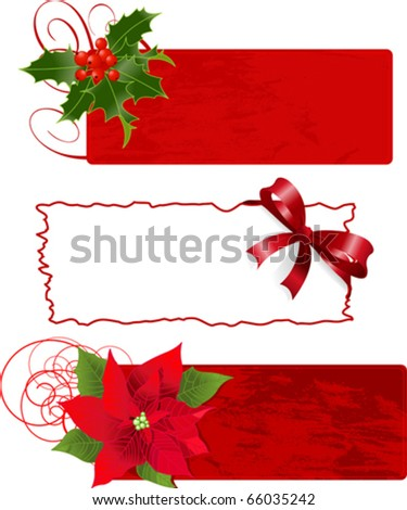 Christmas banners (frames) vector illustration set.