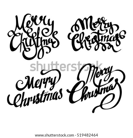 Christmas Banners Merry Handwritten Calligraphy Font Card Hand Written