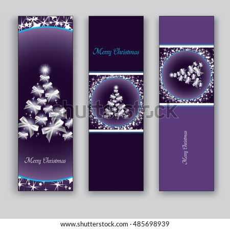 Christmas Banners or Bookmarks. Set of Purple Sparkly Designs.