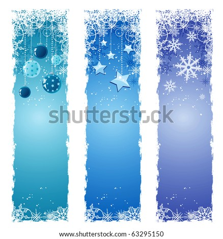 Christmas banners set - stock vector