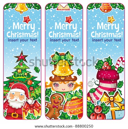 Christmas banners vertical holiday: Santa Claus, Children, Decorations, Presents, Christmas tree, gingerbread man, holly, snowflakes. place for your own text. Christmas stoking. - stock vector