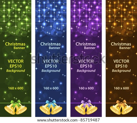 Christmas banners vertical with gold xmas bells, bows, stars and bubbles. Copy space for text. Raster also available. - stock vector