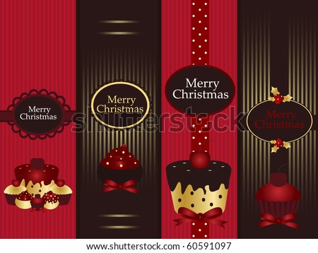 christmas banners with cupcake - stock vector