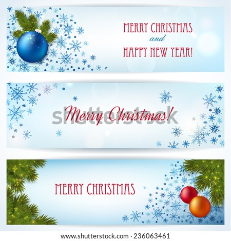 Christmas banners with fir twigs,  bright balls and watercolor snowflakes. Vector illustration.  - stock vector
