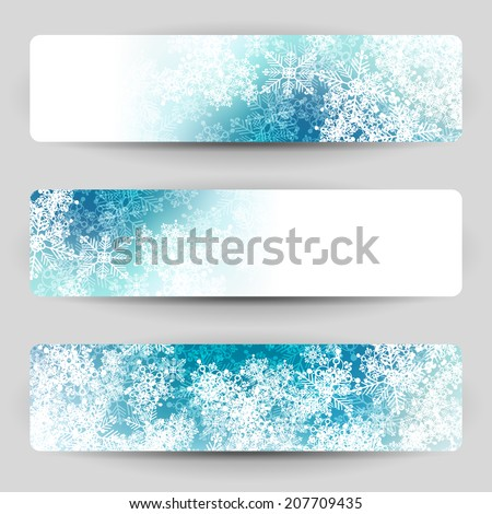 Christmas banners with snowflakes. Blue and white winter design. - stock vector