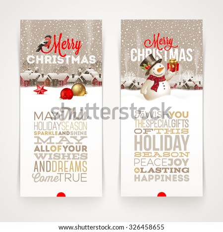 Christmas banners with type design - vector illustration with winter holidays scene - stock vector
