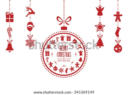 christmas bauble ornaments red isolated background - stock vector