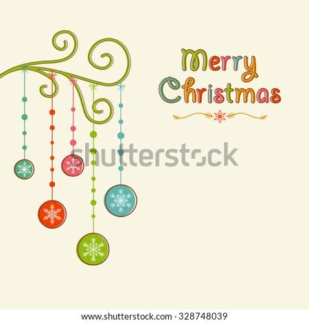 Christmas Bauble Tree Left Align - stock vector