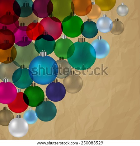 Christmas bauble vintage stained glass in corner vector