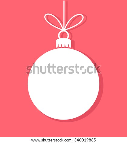 Christmas bauble white tag. Vector illustration - stock vector