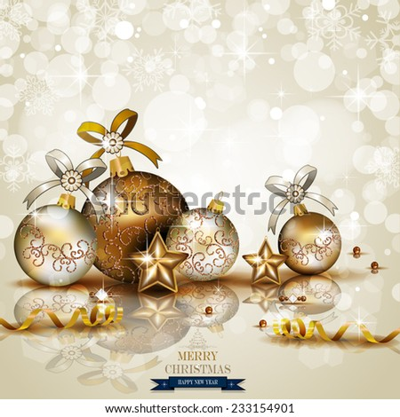 Christmas baubles and decorations on light background-lights of transparency and blending effects gradient mesh EPS-10