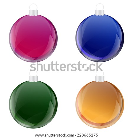Christmas Baubles,  Bulb , Ball with Glass Effect Set Vector - stock vector