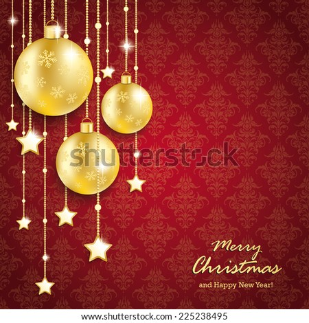 Christmas baubles on red background with ornaments. Eps 10 vector file. - stock vector