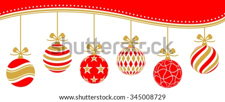 christmas baubles vector red golden - stock vector