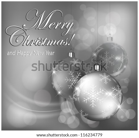 Christmas baubles with snowflake & text in silver, Christmas background, vector illustration