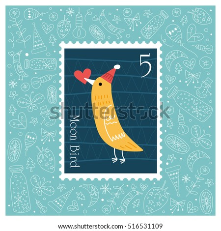 Christmas beautiful cheerful cute stamp with bird. vector illustration